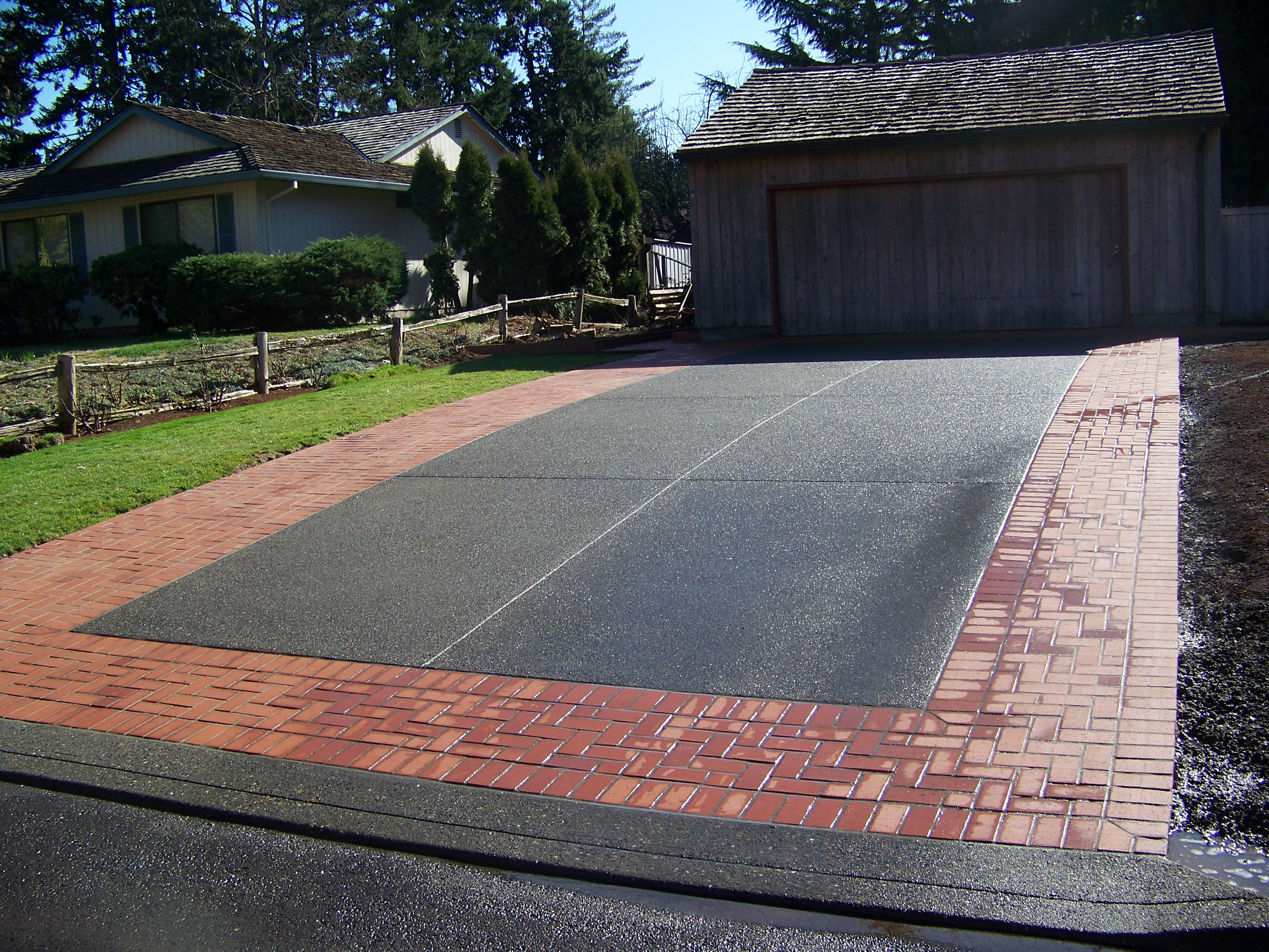 Concrete and brick combinations for Cement driveway ideas