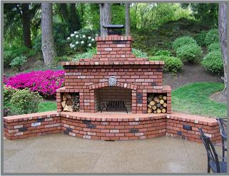 brick patio fireplace