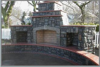 stone outdoor fire place
